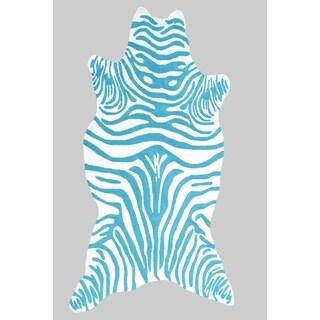 The Rug Market Zebra Teal/ White Area Rug (8' x 10')