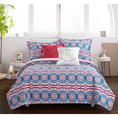Chic Home Sachio Fuschia 9-Piece Reversible Bed in a Bag Set