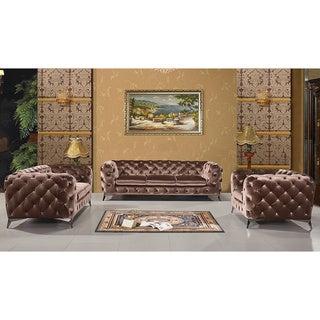 Portaleno Modern Brown Fabric Tufted Living Room Set