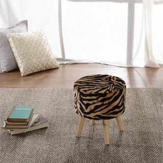 Cheer Collection Faux Fur Tiger Striped Wood Leg Stool