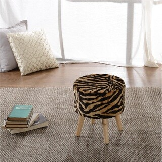 Cheer Collection FauxFur Tiger Striped Wood Leg Stool