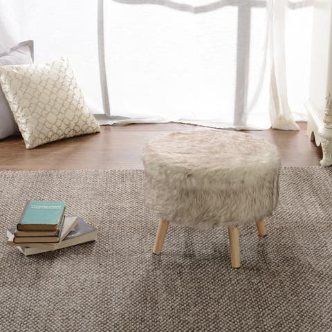Cheer Collection FauxFur Large Wood Leg Stool
