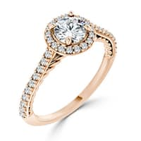 Auriya 10K Gold 3/4ct TDW Twisted Rope-Style Round Diamond Halo Engagement Ring