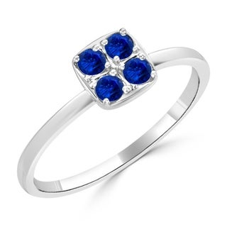 10K Gold 1/4ct TDW Blue Sapphire Gemstone Square Cluster Engagement Ring By Auriya