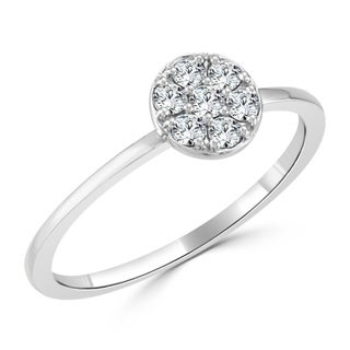 10K Gold 1/5ct TDW Petite Ultra-Thin Stackable Halo Diamond Ring By Auriya