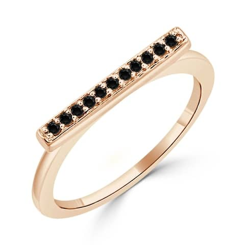 Auriya 1/10ctw Petite Stackable Black Diamond Bar Ring 10K Gold