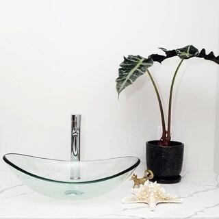 Arsumo BWY09-166 Glass Vessel Bathroom Sink Set - Oval,Clear