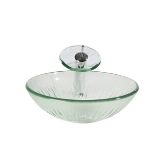 Arsumo BWY009-076 Glass Vessel Bathroom Sink Set - Clear, Circular