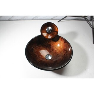 Arsumo BWY09-021 Glass Vessel Sink Set - Brown,Circular