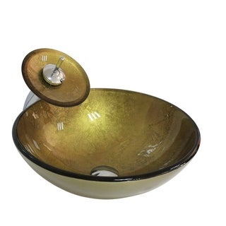 Arsumo BWY09-011 Tempered Glass Vessel Sink Set - Cold Gold,Circular