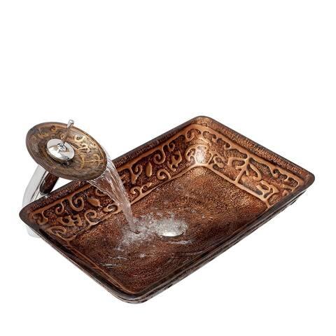 Arsumo BW12-194 Glass Vessel Bathroom Sink Set - Brown,Rectangular