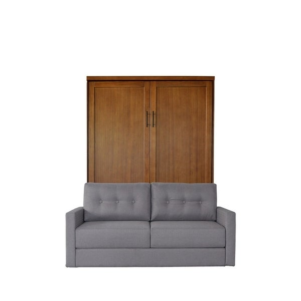 Queen Andrew Sofa Murphy Bed In Chestnut Finish And Heather Tweed Fabric