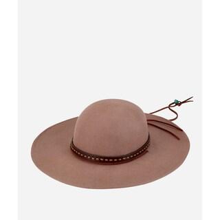 San Diego Hat Company Mens Felt Wide Brim W/ Band & Chin Cord-Camel-M
