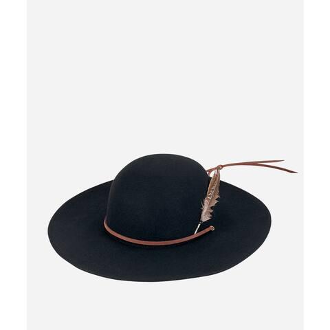 Black Round Crown Wool Felt Hat with Wide Brim by San Diego Hat Company