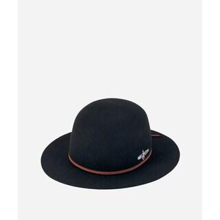 San Diego Hat Company Mens Felt W/ Leather Knot Tie & Native Bird Hardware-Black-M