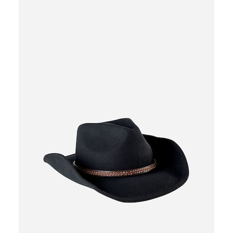 5931cf59af8353 San Diego Hat Company Mens Cowboy Hat With Brown Leather Band-Black-One Size