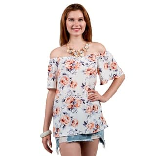 Xehar Womens Off Shoulder Floral Print Blouse TunicTop|https://ak1.ostkcdn.com/images/products/16917961/P23209491.jpg?impolicy=medium