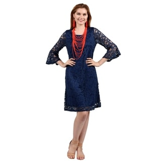 Xehar Womens Crochet Lace Embroidered Midi Dress