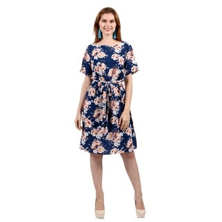 Xehar Womens Casual A-LineFloral PrintDress