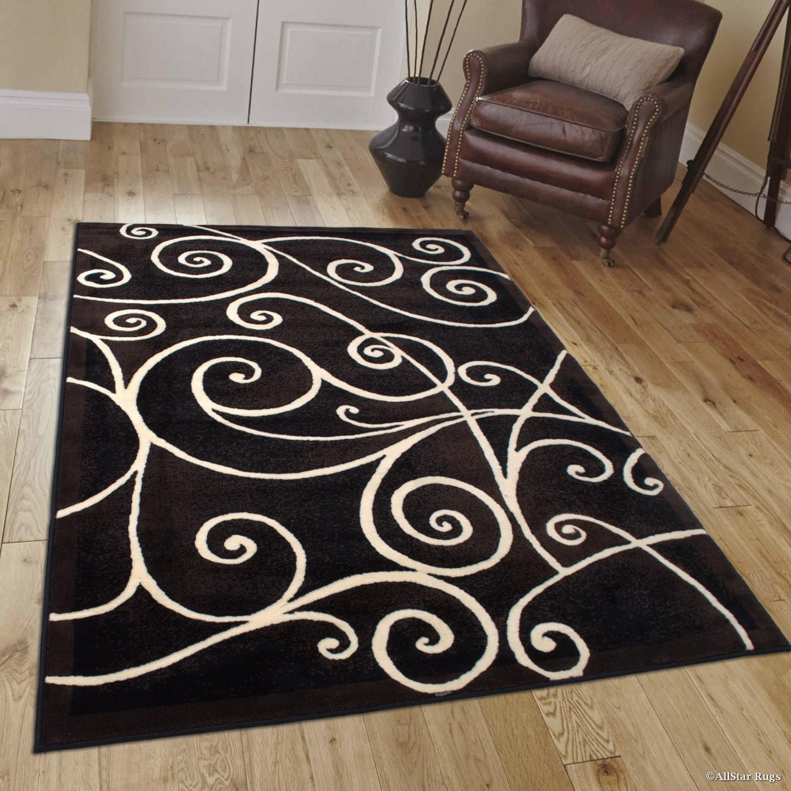 Allstar Black Modern Distressed Traditional Design Rug (5...