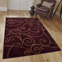 "Allstar Burgundy Modern Distressed Traditional Design Rug - 5' 2"" X 7' 2"""