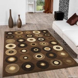 "Brown/ Beige Modern Geometric Design Area Rug (5' 2"" X 7' 2"")"