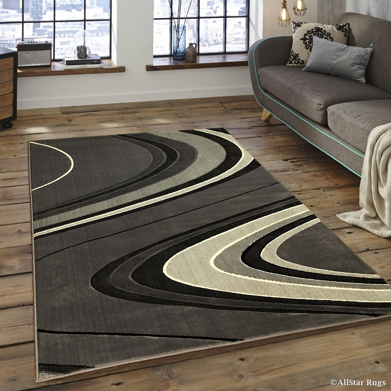 Allstar Grey/ Ivory Modern And Chic Wave Design Rug (5' 2...