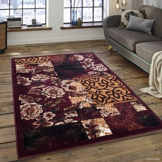 "Allstar Burgundy Assorted Abstract Floral Traditional Rug (5' 2"" X 7' 2"")"