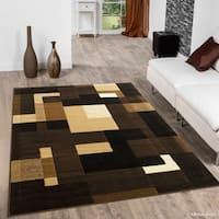 Allstar Chocolate/ Beige And Chic Geometric Shape Design Rug