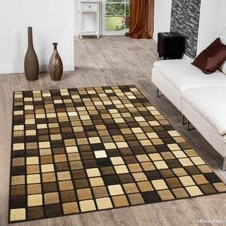 "Allstar Black/ Berber Modern Square Design Rug (5' 2"" X 7' 2"")"