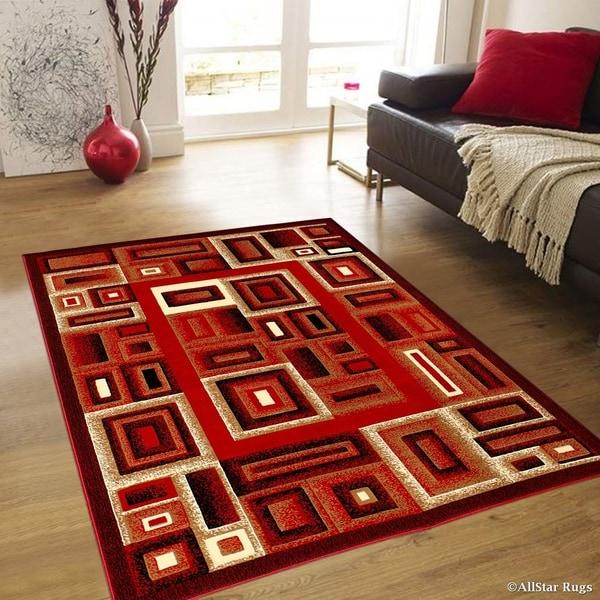Allstar Red Modern Colorblock Geometric Design Rug (5u0026#x27; ...