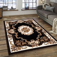 "Allstar Black 18Th Century Vintage Floral Traditional Rug - 5' 2"" X 7' 2"""