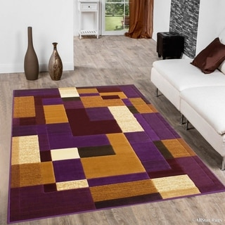 "Allstar Violet Modern And Chic Geometric Shape Design Rug (5' 2"" X 7' 2"")"