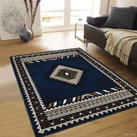 "Allstar Navy Blue Woven Traditional Southwest Contemporary Rug (5' 2"" X 7' 2"")"
