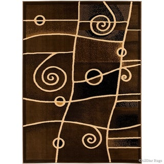 Allstar Combo Modern And Chic Swirl Design Rug (Chocolate 71 x 52)
