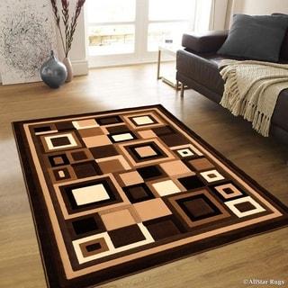 "Allstar Chocolate Abstract Shape Design Modern Rug (5' 2"" X 7' 2"")"