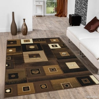 "Allstar Chocolate Modern Square Design Rug (5' 2"" X 7' 2"")"