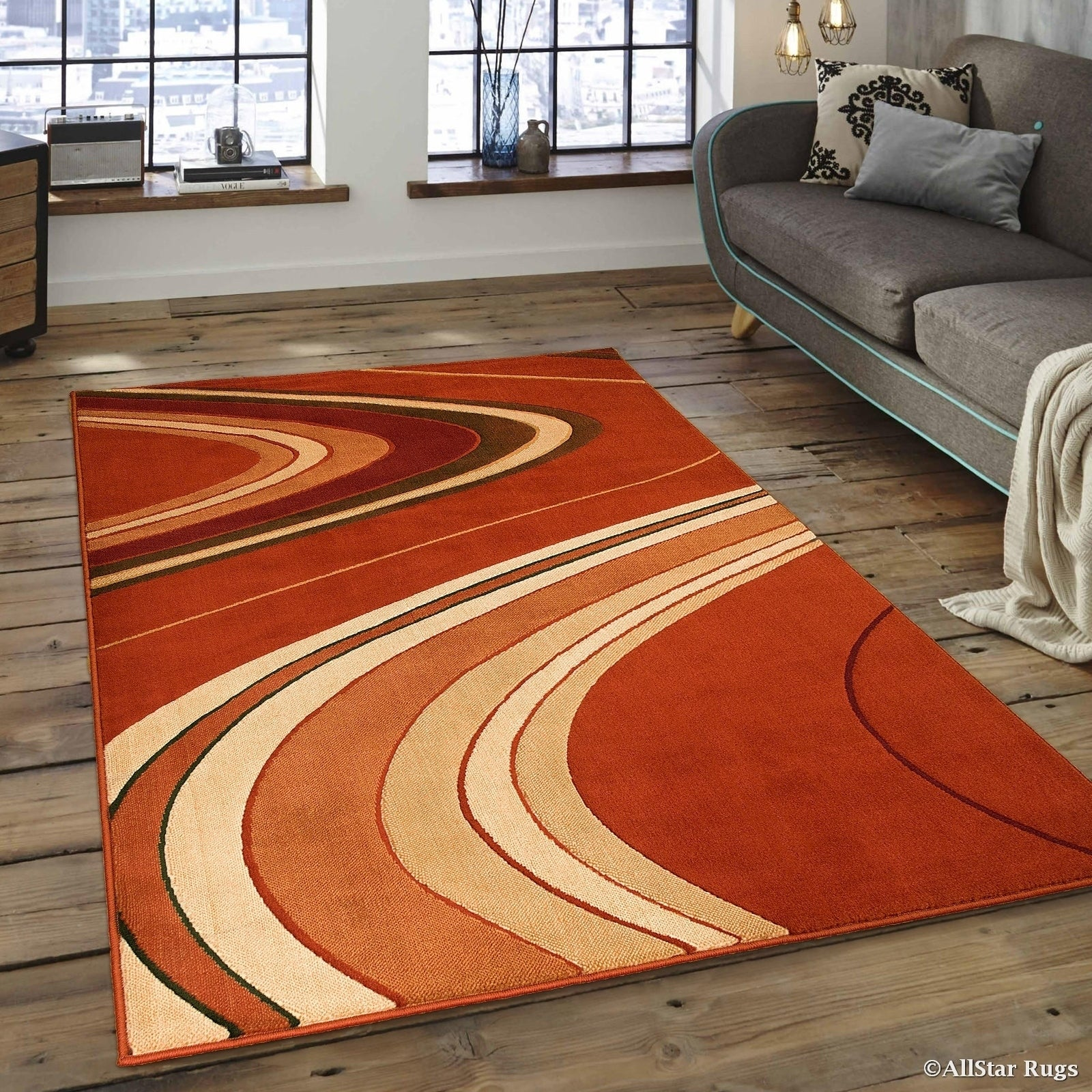 Allstar Rust (Red)/ Ivory Modern And Chic Wave Design Rug...