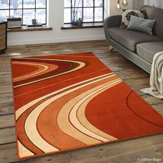 "Allstar Rust/ Ivory Modern And Chic Wave Design Rug (5' 2"" X 7' 2"")"
