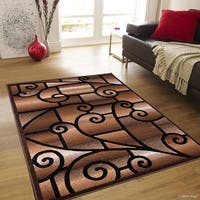 "Allstar Chocolate Modern And Chic Traditional Aubusson Rug - 5' 2"" X 7' 2"""