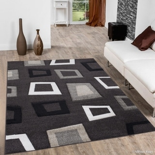 """Allstar Chocolate Woven Abstract Modern Square Design Rug (5' 2"""" X 7' 2"""")"""