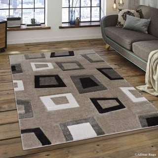 "Allstar Champagne Woven Abstract Modern Square Design Rug (5' 2"" X 7' 2"")"