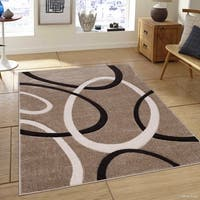 Allstar Champagne Woven Abstract Colorblock Ring Design Rug