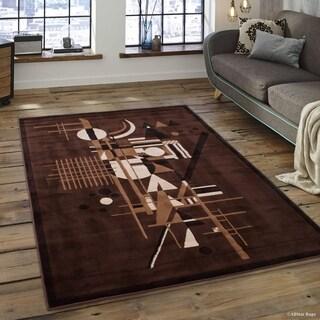 "Allstar Chocolate Modern Abstract Shape Design Rug (5' 2"" X 7' 2"")"