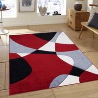 "Allstar Red Woven Abstract Colorblock Modern Design Rug (5' 2"" X 7' 2"")"