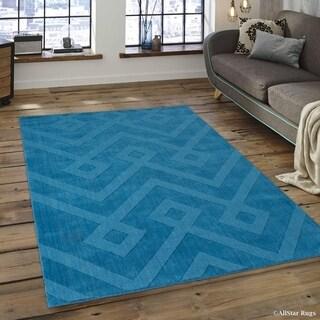 """Allstar Ocean Ultra-Soft Wool Modern Aztec Design Rug (4' 11"""" X 7')"""