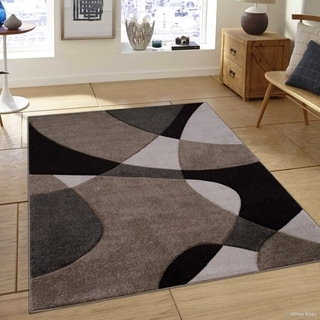 """Allstar Champagne Woven Abstract Colorblock Modern Design Rug (5' 2"""" X 7' 2"""")"""