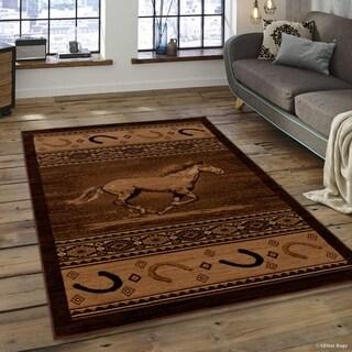"""Allstar Berber Woven Soft Southwest Horse Shoe Theme Rug (5' 2"""" X 7' 2"""")"""