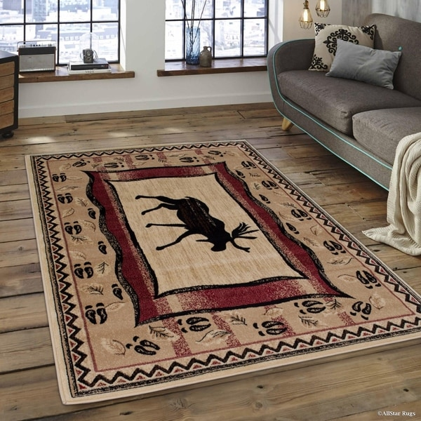 Shop Allstar Berber Woven Soft Southwest Moose Theme Rug