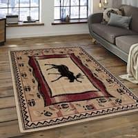 """Allstar Berber Woven Soft Southwest Moose Theme Rug (5' 2"""" X 7' 2"""")"""